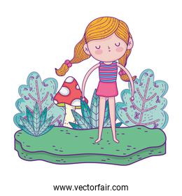 little girl in the garden with fungus