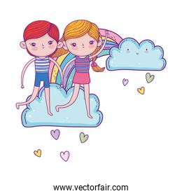 little kids couple in the clouds with rainbow