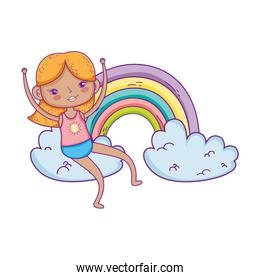 little girl in the rainbow character