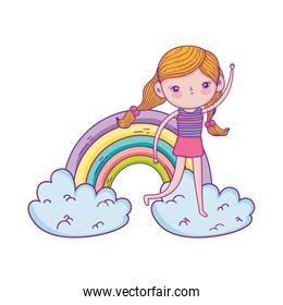 little girl in the clouds with rainbow