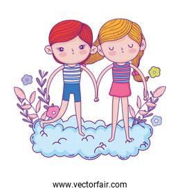 little kids couple in the clouds