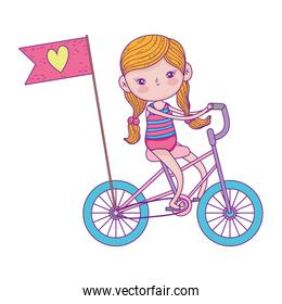 pretty little girl riding bicycle