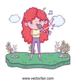 girl singing with microphone in the landscape