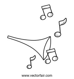 cute trumpet with music notes