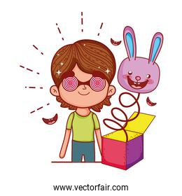 little boy with fools day surprise box and rabbit head