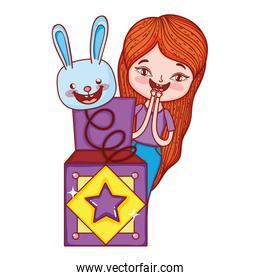 little girl with fools day surprise box and rabbit head