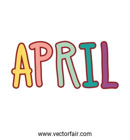 cute april word calligraphy