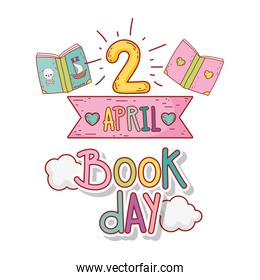 april 2 book day message with ribbon