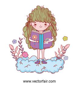 happy little girl reading book in the clouds