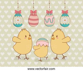little chicks with eggs painted easter characters