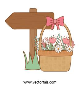 cute basket straw with flowers and arrow guide