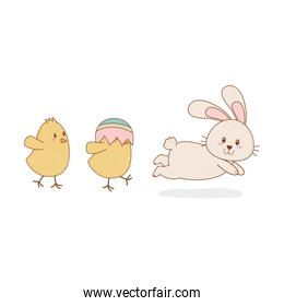 little chicks with rabbit easter characters