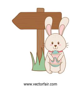 little rabbit with egg painted and arrow guide