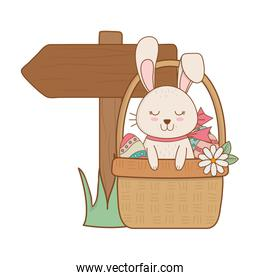 pink rabbit in basket with arrow guide easter character
