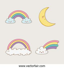 rainbow and moon kawaii characters