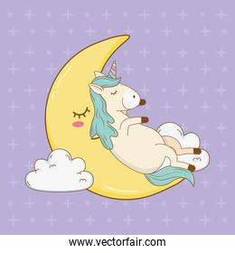 cute fairytale unicorn relaxing in the moon