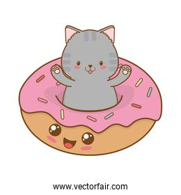 cute little cat with donuts kawaii character