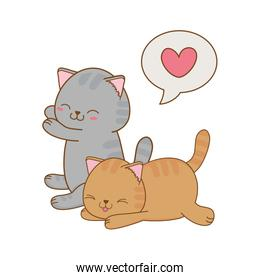 pretty little cats with heart kawaii characters