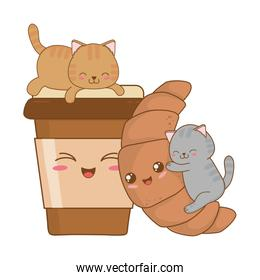 cute little cats with croissant kawaii characters