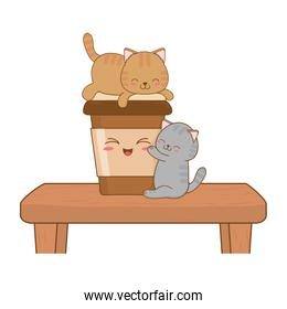 cute little cats with coffee drink kawaii characters