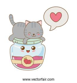 cute little cat with strawberry jam kawaii character