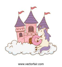 cute fairytale unicorn with castle in the clouds