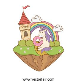 unicorn with castle and rainbow in the field