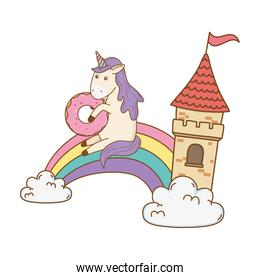 unicorn with castle and rainbow in the clouds