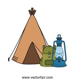 camping tent with kerosene lantern and bag