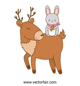 pretty rabbit and reindeer woodland characters