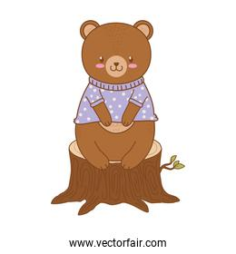 cute bear in trunk woodland character
