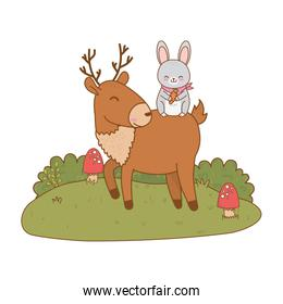 cute rabbit and reindeer in the field woodland characters