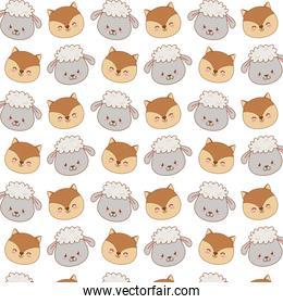 cute woodland animals characters pattern