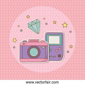 camera photographic and video game stickers kawaii