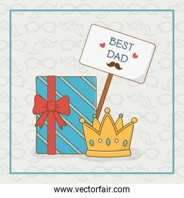 happy fathers day card with gift box