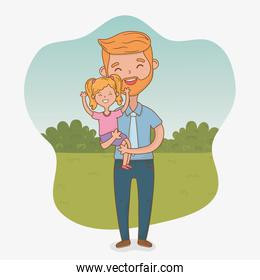 father and daughter characters card