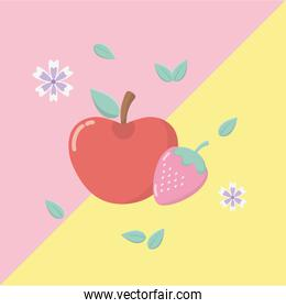 fresh apple and strawberry fruits