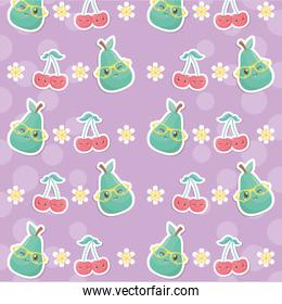 fresh cherries and pears fruits kawaii characters pattern