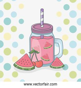 watermelon juice fruit in pot with straw