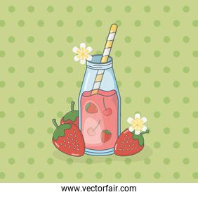 strawberry juice fruit in pot with straw