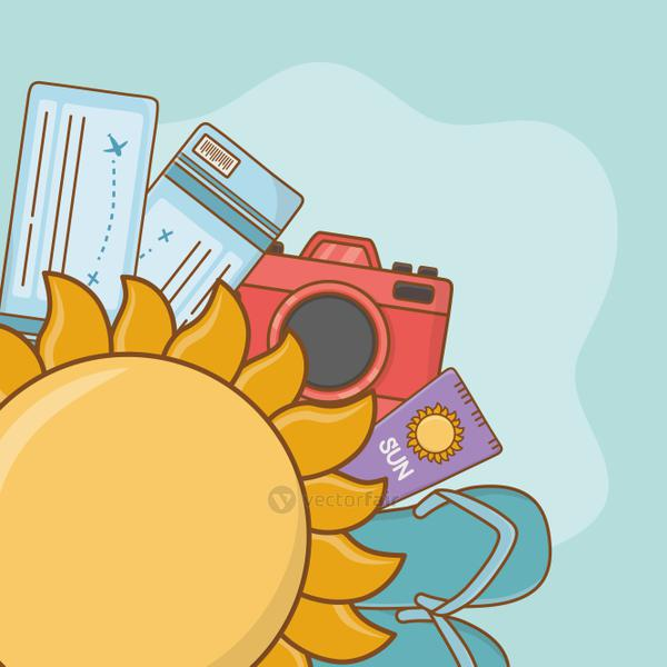 summer sun with travel vacations items