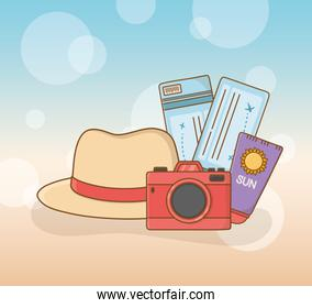 set of travel vacations items
