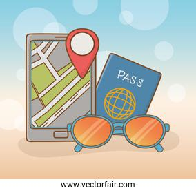 smartphone with travel vacations items