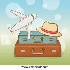 suitcases travel vacations with airplane and hat