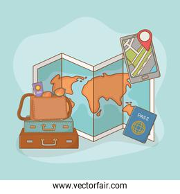 paper map guide with travel vacations items