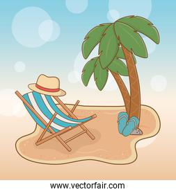 beach with chair travel vacations scene