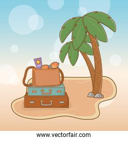 suitcases vacations on the beach scene