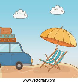 car with suitcases travel vacations scene