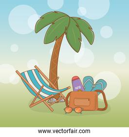 tree palms beach with vacations icons