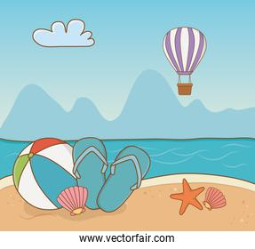 balloon plastic and vacations items on the beach